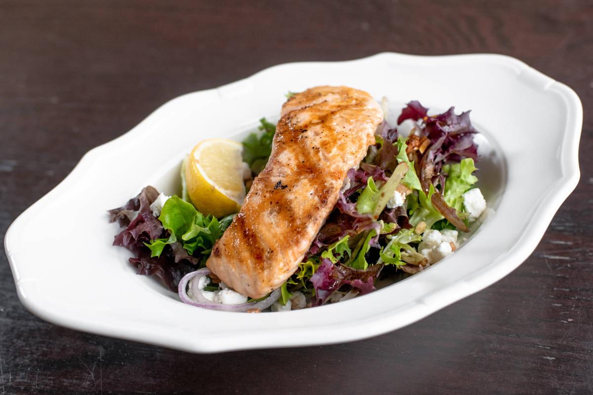 Grilled Maple Salmon Salad Finbar S Irish Pub
